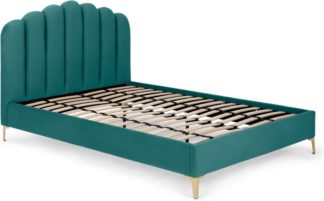 An Image of Delia King Size Bed, Seafoam Blue Velvet