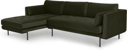 An Image of Harlow Left Hand Facing Chaise End Sofa, Dark Olive Velvet