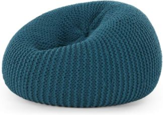 An Image of Aki 100% Wool Knitted Cocoon Bean Bag, Blue