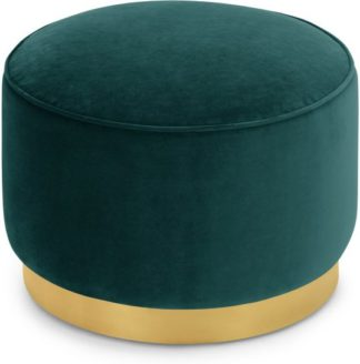 An Image of Hetherington Large Brass Base Pouffe, Seafoam Blue Velvet