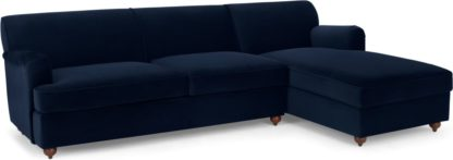 An Image of Orson Right Hand Facing Chaise End Sofa Bed, Ink Blue Velvet