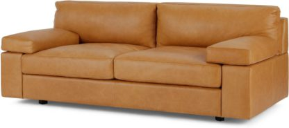 An Image of Gioffre Large 2 Seater Sofa, Courier Tan Premium Leather