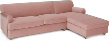 An Image of Orson Right Hand Facing Chaise End Sofa Bed, Vintage Pink Velvet