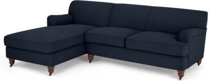 An Image of Orson Left Hand Facing Chaise End Sofa, Dark Blue Weave