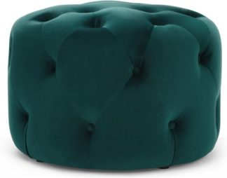 An Image of Hampton Small Round Pouffe, Seafoam Blue Velvet