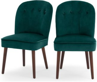 An Image of Set of 2 Margot Dining Chairs, Seafoam Blue and Dark Wood
