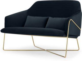 An Image of Stanley 2 Seater Sofa, Twilight Blue Velvet