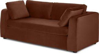 An Image of Mogen 3 Seat Sofa Bed, Warm Caramel Velvet