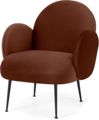 An Image of Bonnie Accent Armchair, Warm Caramel Velvet with Black Legs