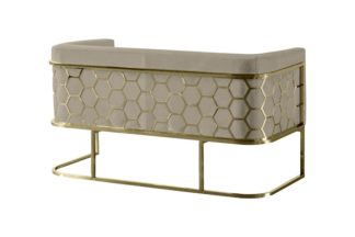 An Image of Alveare Two Seat Sofa - Brass - Taupe
