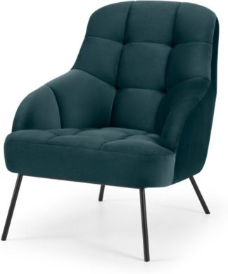 An Image of Howley Accent Armchair, Steel Blue Velvet