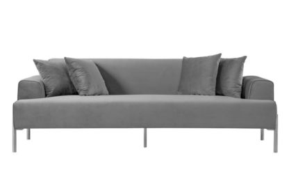 An Image of Duke Three Seat Sofa - Dove Grey - Silver finish Legs