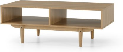 An Image of MADE Essentials Asger Storage Coffee Table, Oak Effect