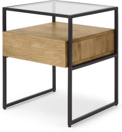 An Image of Kilby Bedside Table, Light Mango Wood & Black