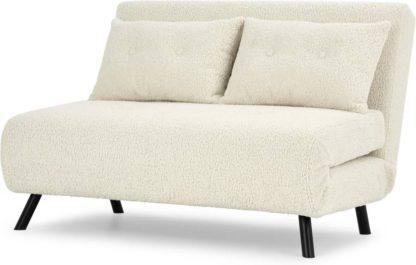 An Image of Haru Small Sofa Bed, Faux Sheepskin