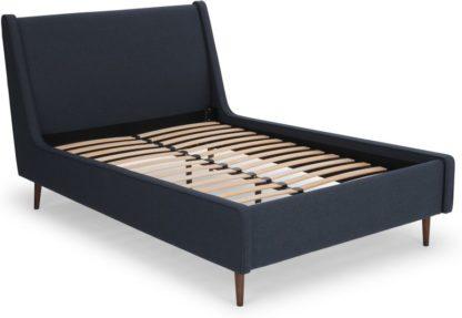 An Image of Higgs King Size Bed, Shetland Navy Wool & Walnut Stain Legs
