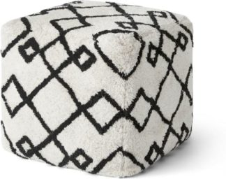 An Image of Fes Pouffe, Off White & Black