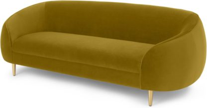 An Image of Trudy 3 Seater Sofa, Vintage Gold Velvet