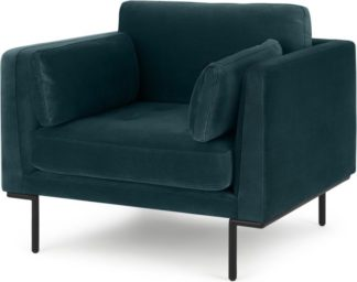 An Image of Harlow Armchair, Steel Blue Velvet
