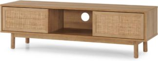 An Image of Pavia Wide TV Stand, Natural Rattan & Oak Effect
