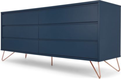 An Image of Elona Wide Chest of Drawers, Dark Blue and Copper