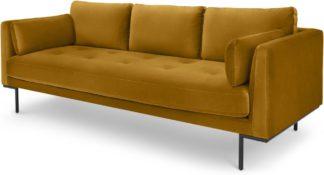 An Image of Harlow 3 Seater Sofa, Vintage Mustard Velvet