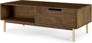 An Image of Tayma Storage Coffee Table, Acacia Wood & Brass