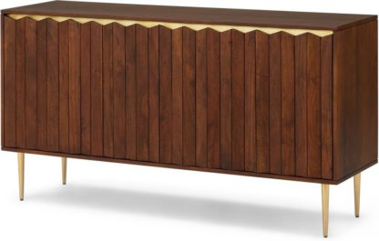 An Image of Talin Wide Sideboard, Walnut Stain Acacia Wood & Brass