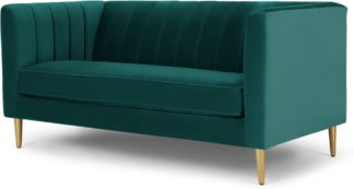 An Image of Amicie 2 Seater Sofa, Seafoam Blue velvet