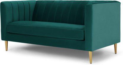 An Image of Amicie 2 Seater Sofa, Seafoam Blue velvet