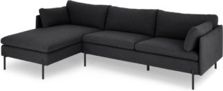 An Image of Zarina Left Hand Facing Chaise End Sofa, Sterling Grey with Black Leg