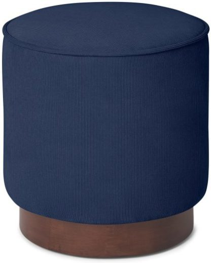 An Image of Hetherington Small Wooden Pouffe, Midnight Corduroy Velvet with Dark Stain Wood
