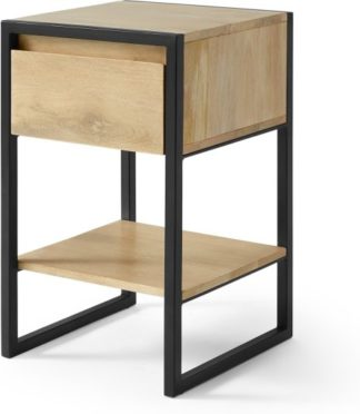 An Image of Rena Bedside table, Light Mango Wood and Black Metal