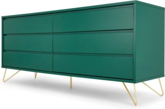 An Image of Elona Wide Chest Of Drawers, Racing Green and Brass