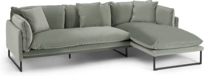 An Image of Malini Right Hand Facing Chaise End Sofa, Sage Green Velvet