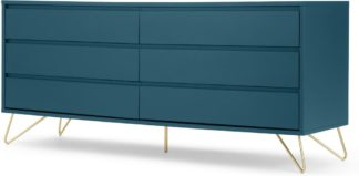 An Image of Elona Wide Chest of Drawers, Teal and Brass