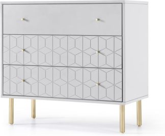 An Image of Hedra Chest of Drawers, Grey and Brass
