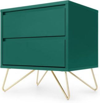An Image of Elona Bedside Table, Racing Green and Brass