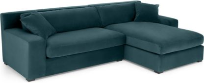 An Image of Delaney Right Hand Facing Chaise End Corner Sofa, Lagoon Blue Velvet