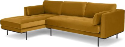 An Image of Harlow Left Hand Facing Chaise End Sofa, Vintage Mustard Velvet