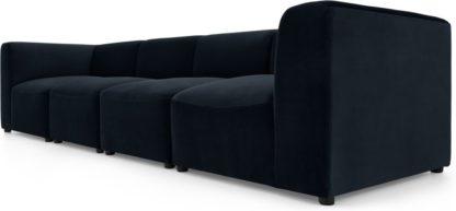 An Image of Juno 4 Seater Modular Sofa, Twilight Blue Velvet