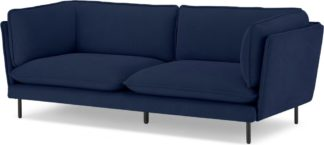 An Image of Wes 3 Seater Sofa, Midnight Blue Micro Corduroy Velvet