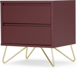 An Image of Elona Bedside Table, Oxblood Red and Brass