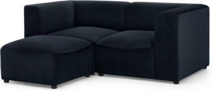 An Image of Juno 2 Seater Modular Sofa with Footstool, Twilight Blue Velvet