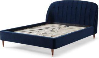 An Image of Margot King Size Bed, Royal Blue Velvet & Dark Stain Copper Legs