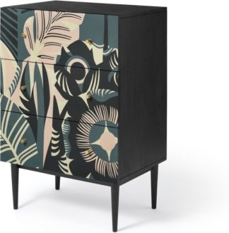 An Image of Luxari Chest of Drawers, Printed and Black Stain Mango Wood