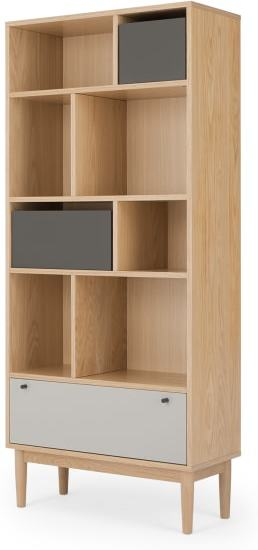 An Image of Campton Narrow Bookcase, Oak and Grey