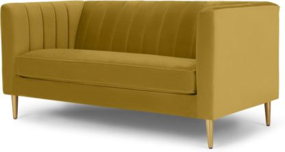 An Image of Amicie 2 Seater Sofa, Vintage Gold Velvet