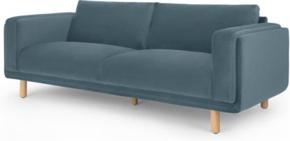 An Image of Karson 3 Seater Sofa, Marine Green Velvet