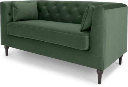 An Image of Flynn 2 Seater Sofa, Elm Green Velvet